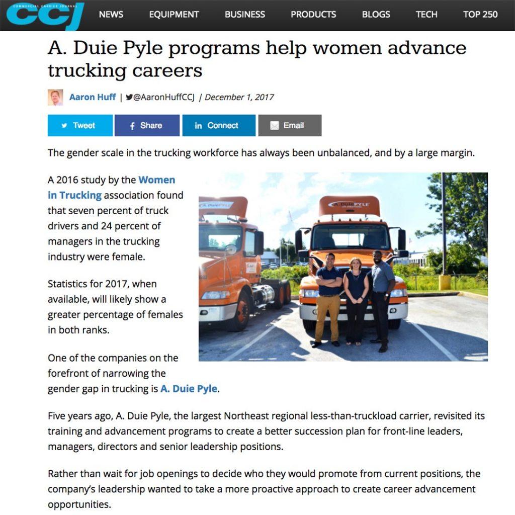 CCJ Magazine features A  Duie Pyle Program - Aria Logistics